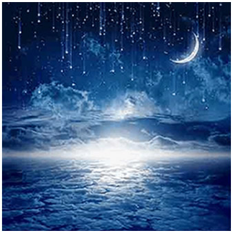 a peaceful image of the moon and stars above the clouds